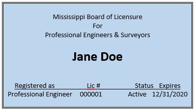 Example pocket card.  Not an actual licensure pocket card.